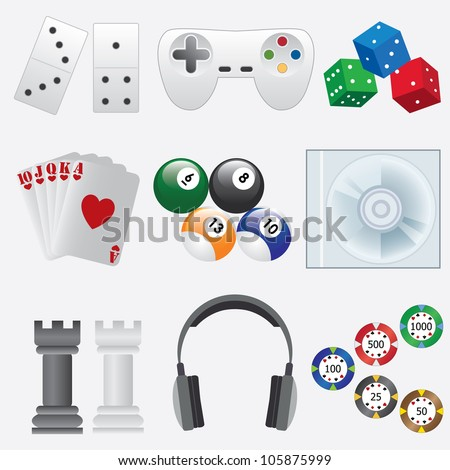 Set of objects for indoor games on the white background. - stock vector