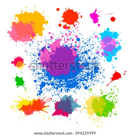 Set of objects from colored stains of paint. Vector - stock vector
