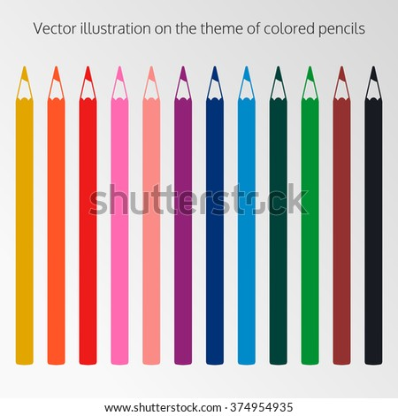 Set of objects on the theme of pencils - stock vector