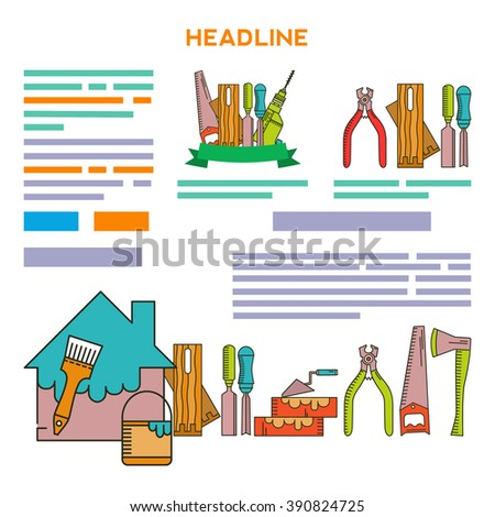 Set of objects on the theme of Repair Tools - drill, wire cutter, brush, paint. Icons Set in the trendy linear style.