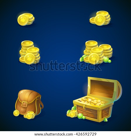Set of objects - stack of open chest with gold coins, shiny green emeralds, leather inventory bag. Vector illustration.