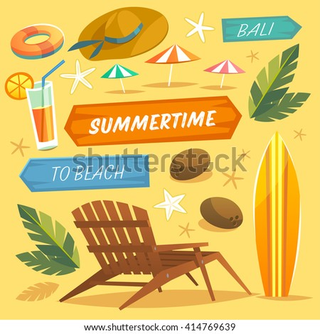 Set of objects. Summer Holidays. Vector Illustration - stock vector