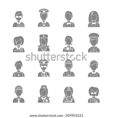 Set of occupations profession people characters in gray color vector illustration - stock vector