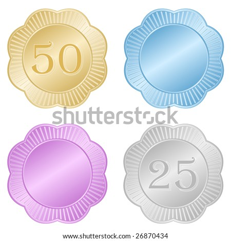 Set of of scallop edge commemorative or award foil seals or medallions in gold, silver, pink, and blue.