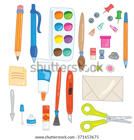 Set of 28 office and school supplies elements: scissors, stick notes, pins, watercolor, gouache, glue, envelope, paper knife, pen, pencil, palette knife, eraser, pencil sharpener and other things! - stock vector