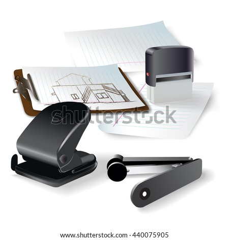 Set of office and writing tools, isolated on white background. Vector illustration - stock vector