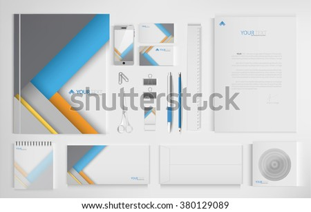 Set of office documents for business, material design vector background.