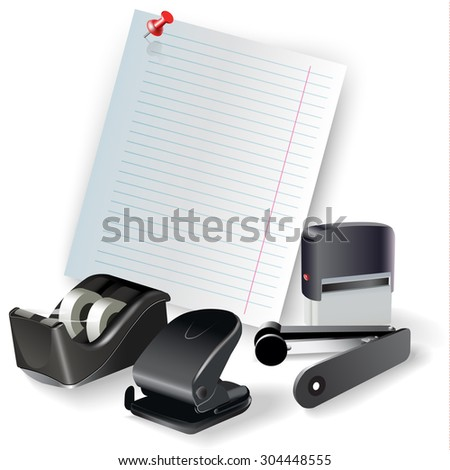 Set of office, drawing and writing tools, isolated on white. Vector clip-art - stock vector