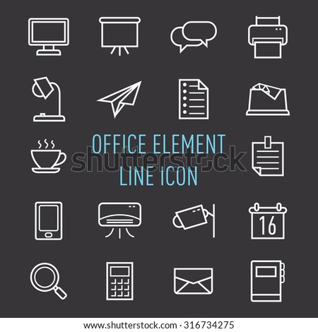 set of office element line icon isolated on black background - stock vector