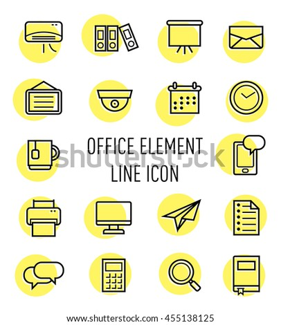 set of office element line icon isolated on white background