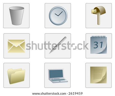Set of Office Icons - stock vector