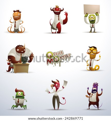 set of Office monsters, vector - stock vector