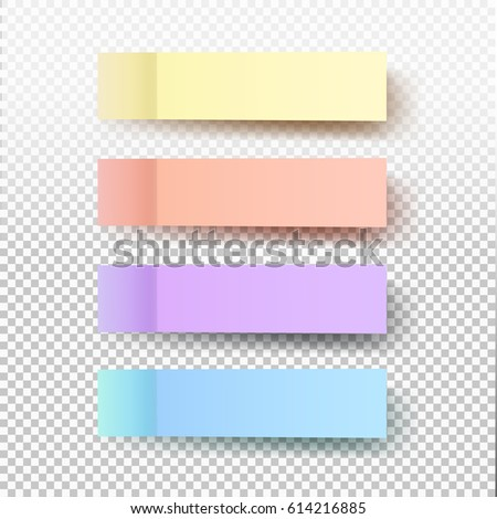 Set of office paper sheets or sticky stickers with shadow isolated on a transparent background. Vector colorful notes for your design