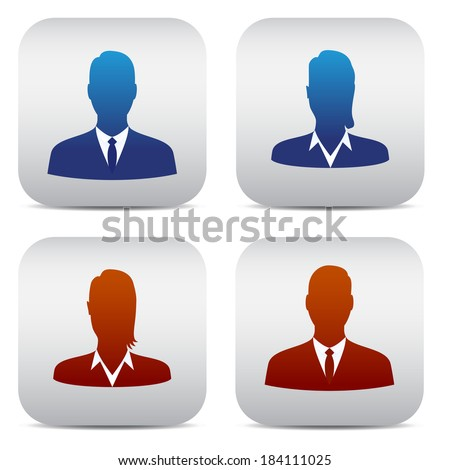 set of office people in red and blue - stock vector