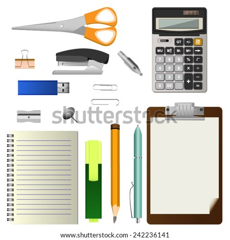 set of office stationery tools on white background - stock vector