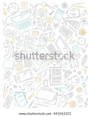 Set of office supplies and gadgets isolated on white background. 70+ items. Top view. Doodles design elements for work and education. Stationery and gadgets, food and drinks, plants, laptop, mobile.