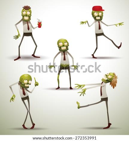 Set of Office Zombies, vector - stock vector