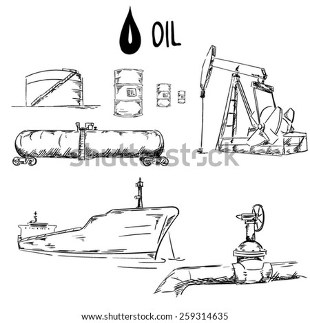 Set of oil industry objects EPS10 vector illustration - stock vector