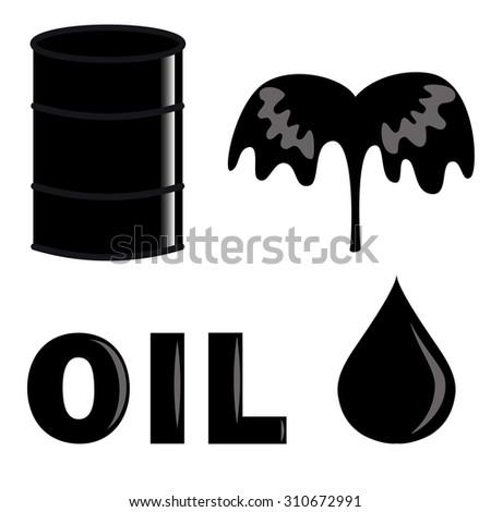 set of oil industry symbols: oil drop, barrel, fountain of oil and â??oilâ?? word - stock vector