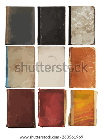 set of old books, vector - stock vector