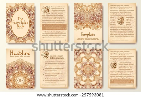 Set of old fary tail flyer pages ornament illustration concept. Vintage art traditional, Islam, arabic, indian, ottoman motifs, elements. Vector decorative retro greeting card or invitation design.  - stock vector