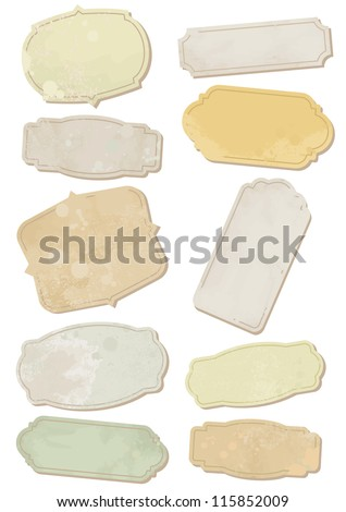 Set of old-fashion ornamental cards or tags with weathered and stained effect. All vector parts are isolated and grouped. Colors are easy to customize.