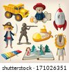 Set of old-fashioned toys - stock vector