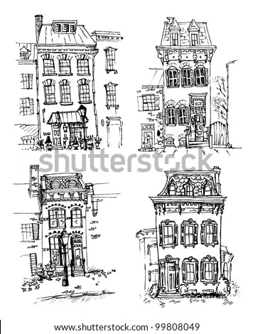 Set of old hand drawn houses - stock vector