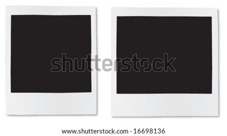 Set of old instant photo frames - stock vector