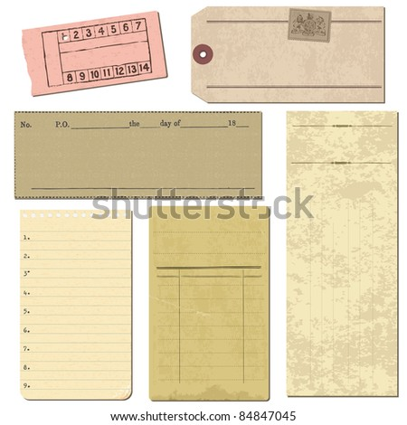 Set of Old paper objects - for design and scrapbook in vector - stock vector