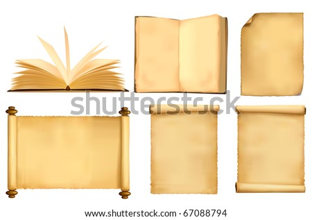 Set of old paper sheets and book. Vector. - stock vector
