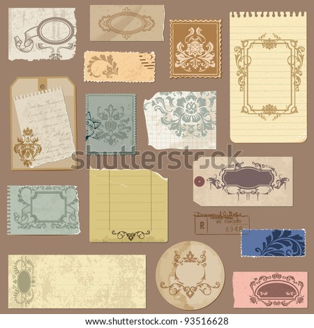 Set of Old paper with Vintage Frames and Damask elements in vector - stock vector