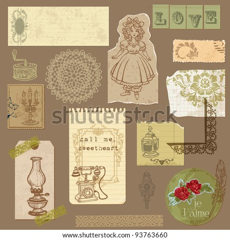 Set of Old paper with Vintage Goods - for your design and scrapbook in vector - stock vector