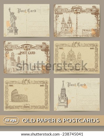Set of old postcards. Capitals. Tourism - stock vector