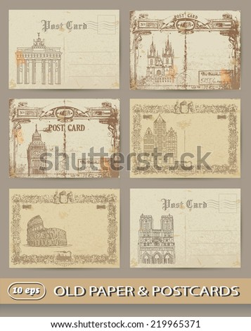 set of old postcards. European capitals.  - stock vector