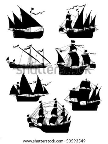 Set of old sailing ships - stock vector