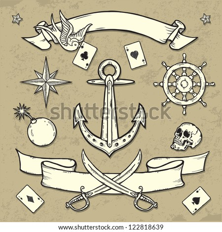 Set of Old School Tattoo Elements on Grunge Texture background - stock vector