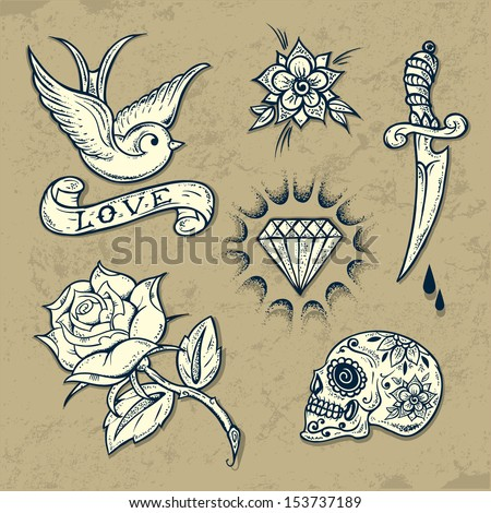 Set of Old School Tattoo Elements with roses and diamonds - stock vector