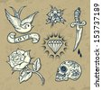 Set of Old School Tattoo Elements with roses and diamonds.Tattoo-art design. Hand-drawn vector images. Good for printing on t-shirt. Easy to edit. EPS8 file. Vintage colors.  - stock vector