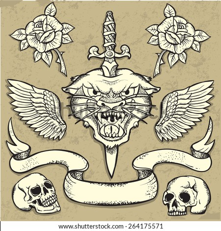 Set of Old School Tattoo Elements with roses and skulls - stock vector