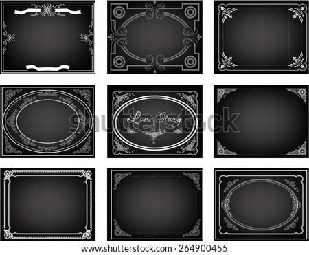 Set of old silent movie title frames. Vector backgrounds - stock vector