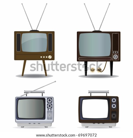 Set of old TVs - stock vector