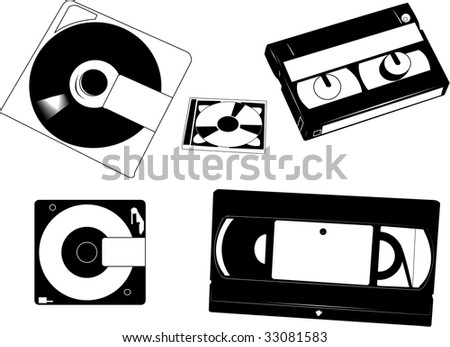 Set of old VHS cassettes, Minidisks  and 8 mm camcorder tape. - stock vector
