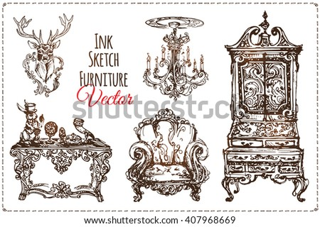 Set Of Old Vintage Furniture Sketches Drawn By Hand With Ink Elegant Home Furnishings