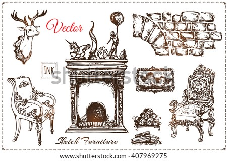 set of old vintage furniture. sketches drawn by hand with ink. elegant home furnishings in Baroque, Rococo style. armchair, fireplace and a stuffed deer head. isolated vector - stock vector
