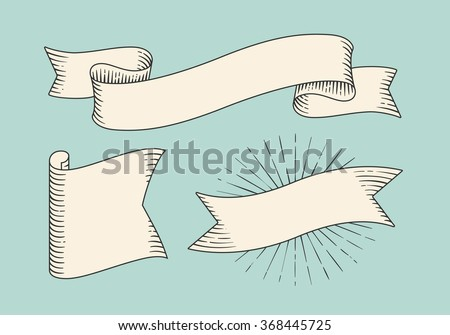 Set of old vintage ribbon banners in engraving style. Hand drawn design element. Vector illustration - stock vector