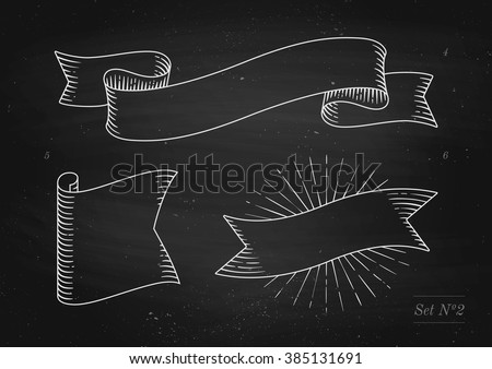 Set of old vintage ribbon banners in engraving style on a black chalkboard background and texture. Hand drawn design element. Vector illustration - stock vector