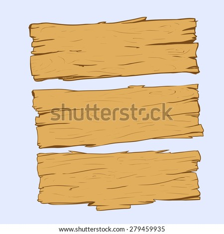 Set of old wood planks.Vector Illustration. - stock vector