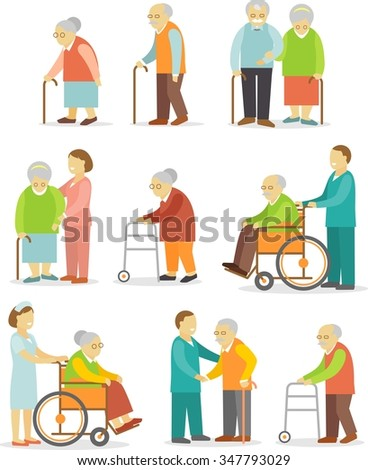 Set of older people in flat style. Elderly people in different situations with caregivers - stock vector
