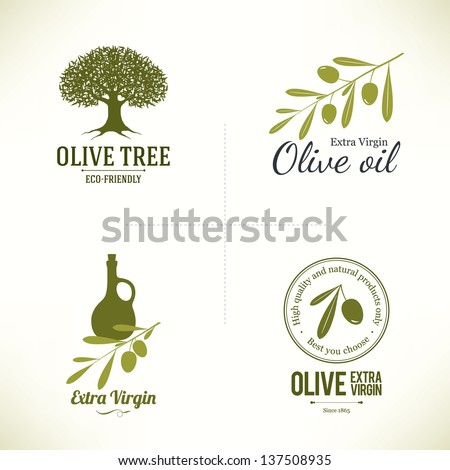 Set of olive labels - stock vector